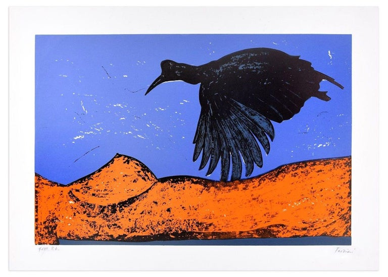 Black Bird is an original colored lithograph realized by the artist Nino Terziari in the 1970s.  Hand-signed by the artist on lower right. Artis's Proof (P.A is handwritten in pencil on lower left).  This very colored print represents a black bird