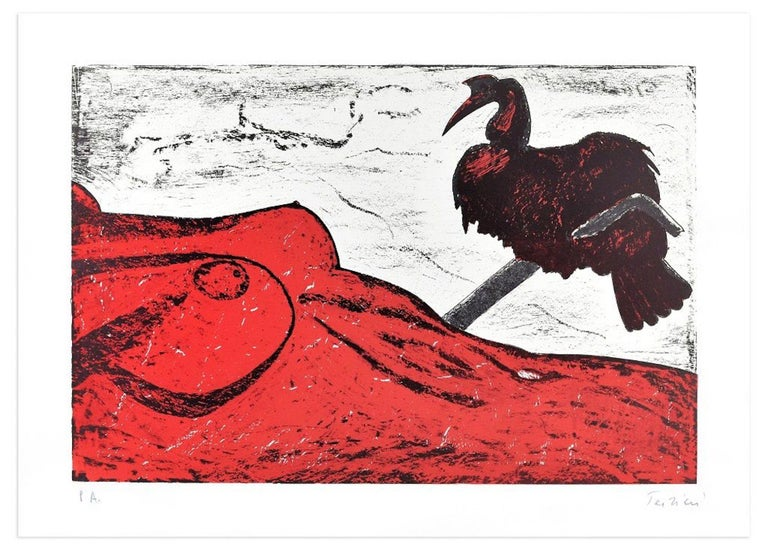 Pelican is an original colored lithograph realized by the artist Nino Terziari in the 1970s.  Hand-signed by the artist on lower right. Artist' proof (P.A. is handwritten in pencil on lower left).  This interesting print belongs to a series that