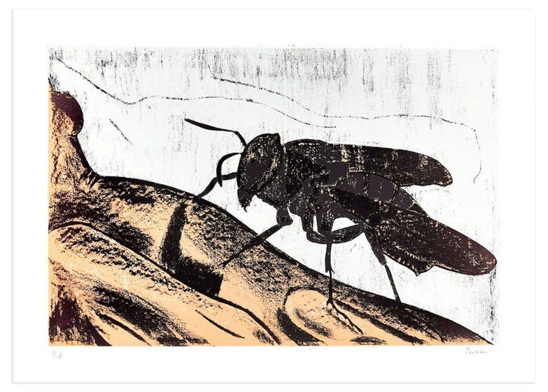 Fly is an original colored lithograph realized by the artist Nino Terziari in the 1970s.  Hand-signed by the artist on lower right. Artist' proof (P.A. is handwritten in pencil on lower left).  This colored lithograph represents a big fly on an