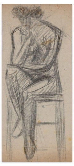 Sitting Nude - Original Charcoal Drawing - Early 20th Century