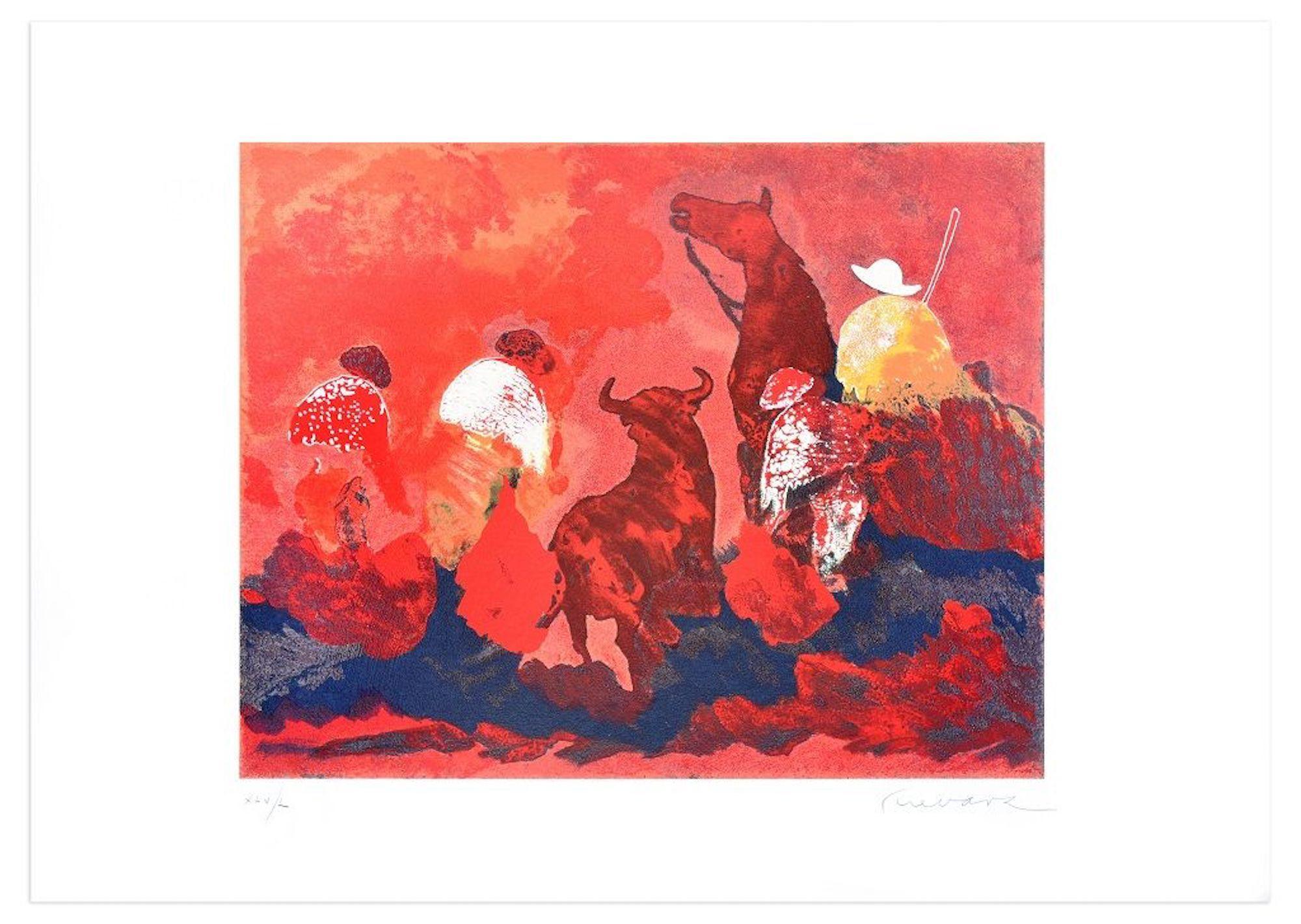 Bullfight in Red - Original Screen Print by José Guevara - 1989
