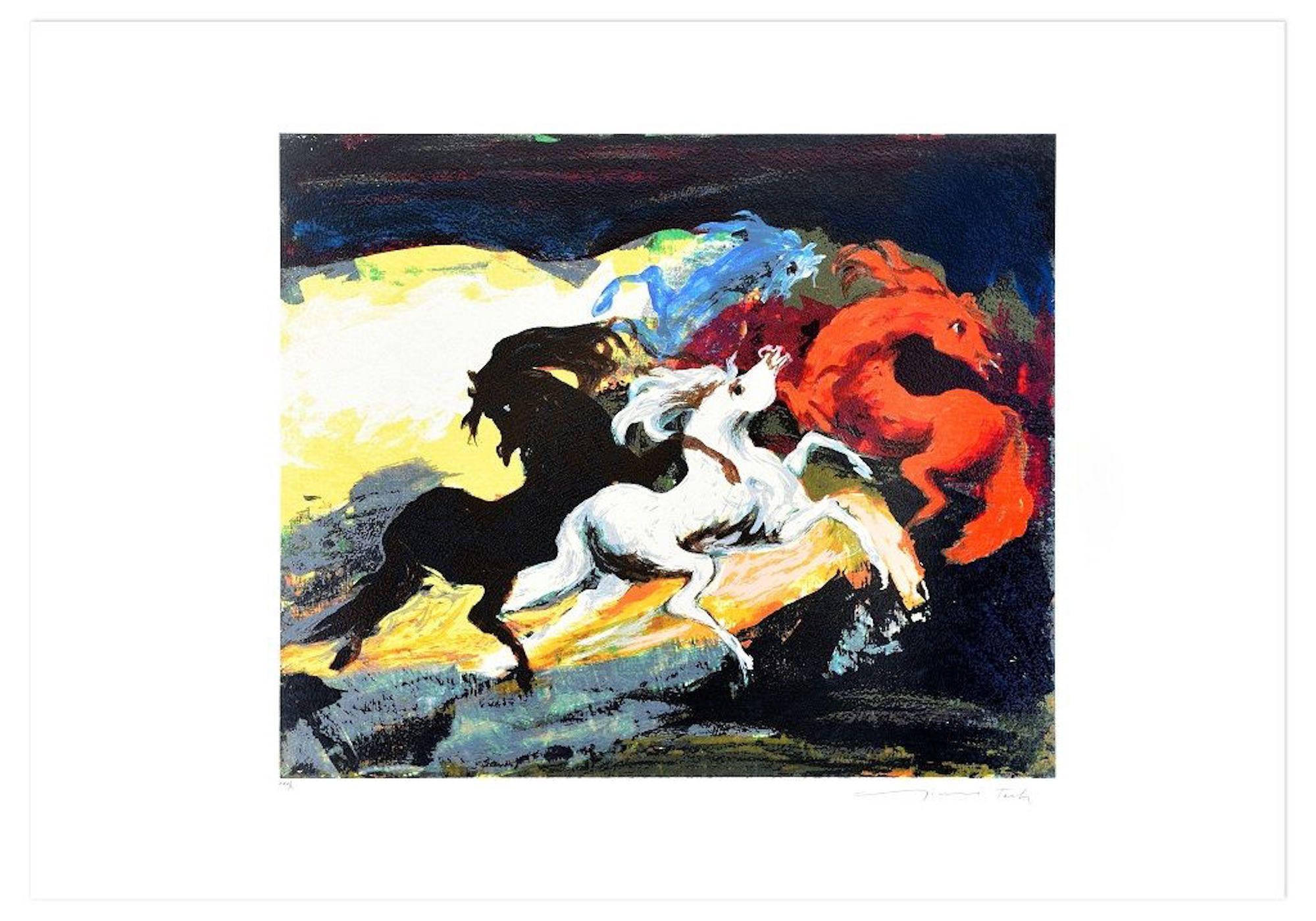 Carousel Of Three Horses - Original Screen Print by Gianni Testa - 1986