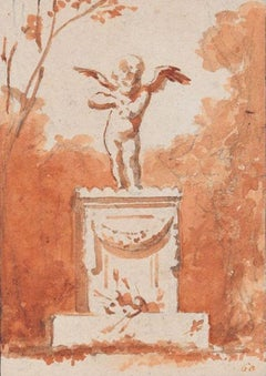 Cupid Statue - Original Charcoal and Watercolorl Drawing - Late 19th Century