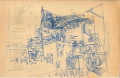 Party - Original China Ink Drawing by Jeanne Daour - 1953
