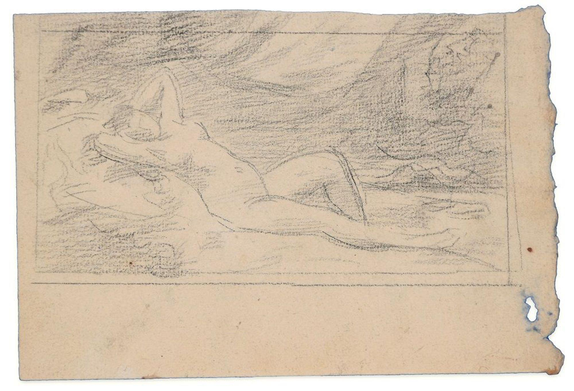 Lying Down Woman - Original Charcoal Drawing - Late 19th Century