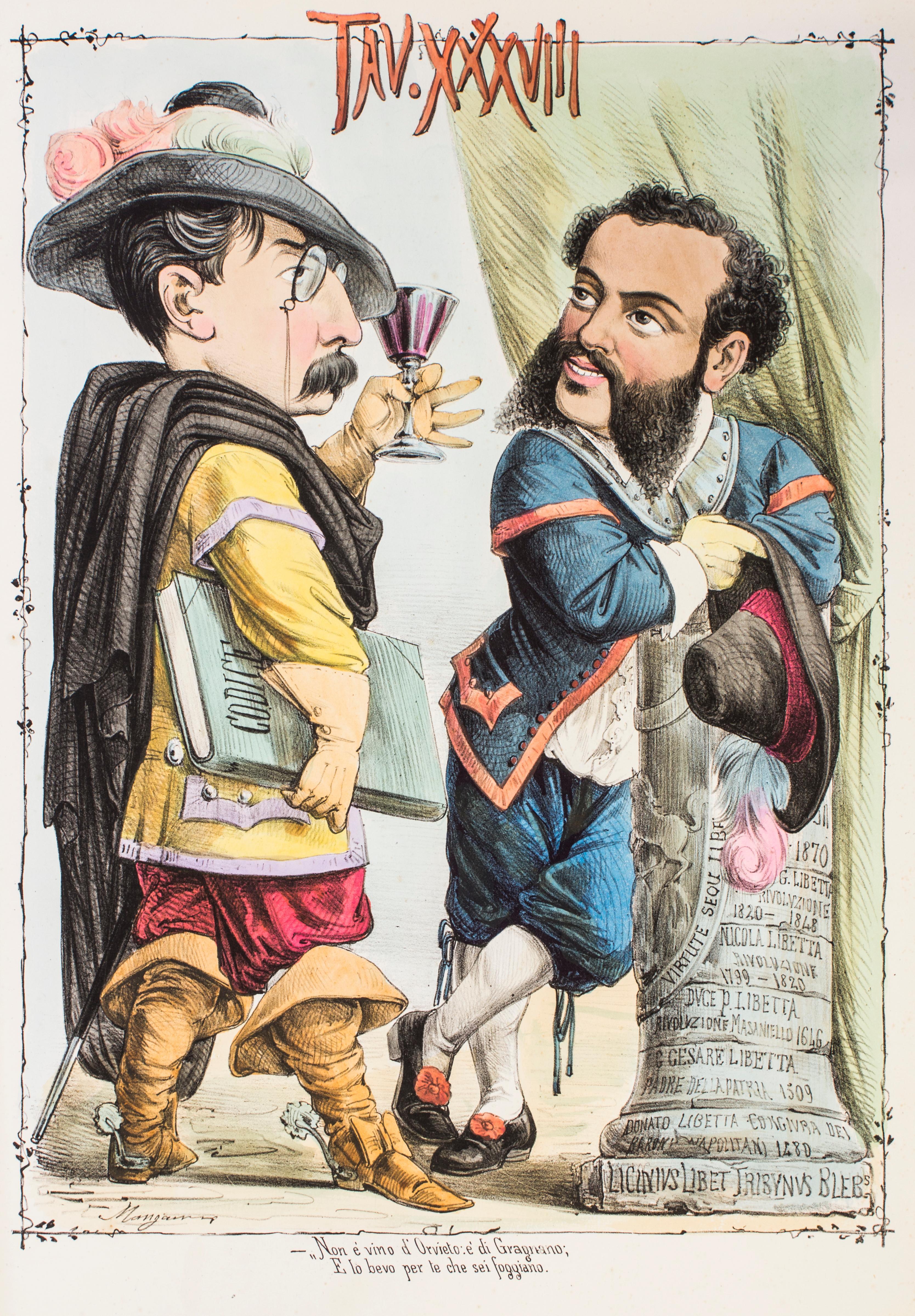 Due Parole a Quattr'occhi - Original Lithograph by Antonio Mangano - 1870s