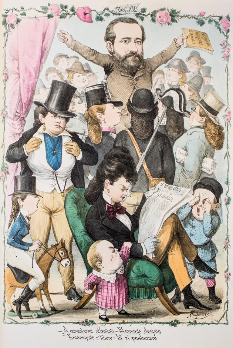 Rigenerate La Donna is an original artwork realized in the 1870s by Antonio Manganaro.  Original colored lithograph.  Good conditions except for yellowing of paper due to the time and some light foxings.  This satirical print is plate n. XII (as