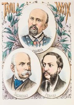 Three Politicians - Original Lithograph by A. Maganaro - 1873