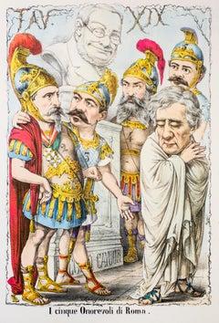 I Cinque Onorevoli di Roma - Original Lithograph by A. Maganaro - 1870s