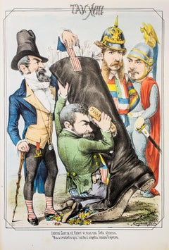 The Ministers - Original Lithograph by A. Maganaro - 1872