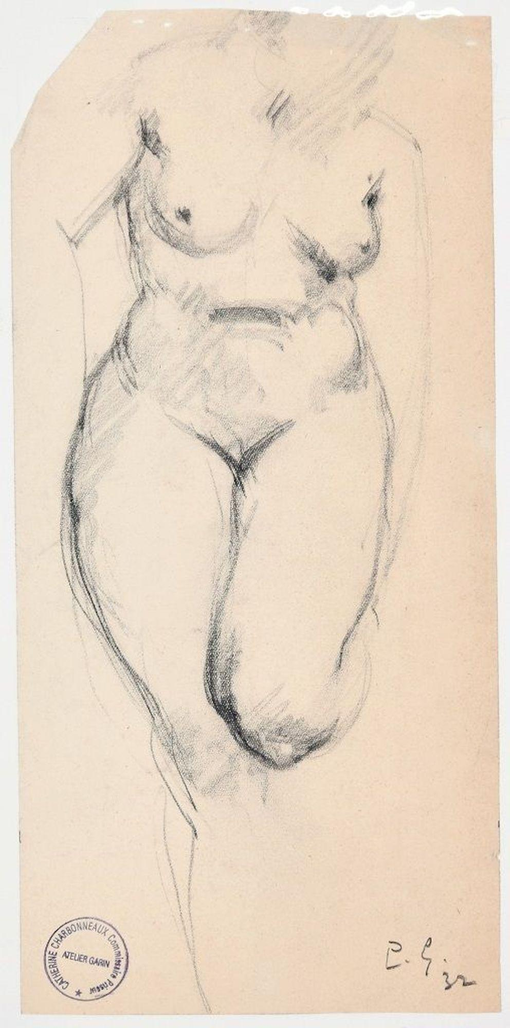 Woman's Nude - Original Charcoal Drawing by Paul Garin - 1932
