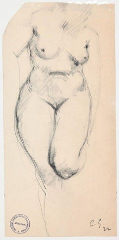 Woman's Nude - Original Charcoal Drawing by Paul Garin - 1932