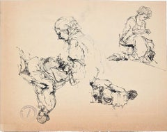 Sketches - Original Pen Drawing by Paul Garin - 1950s