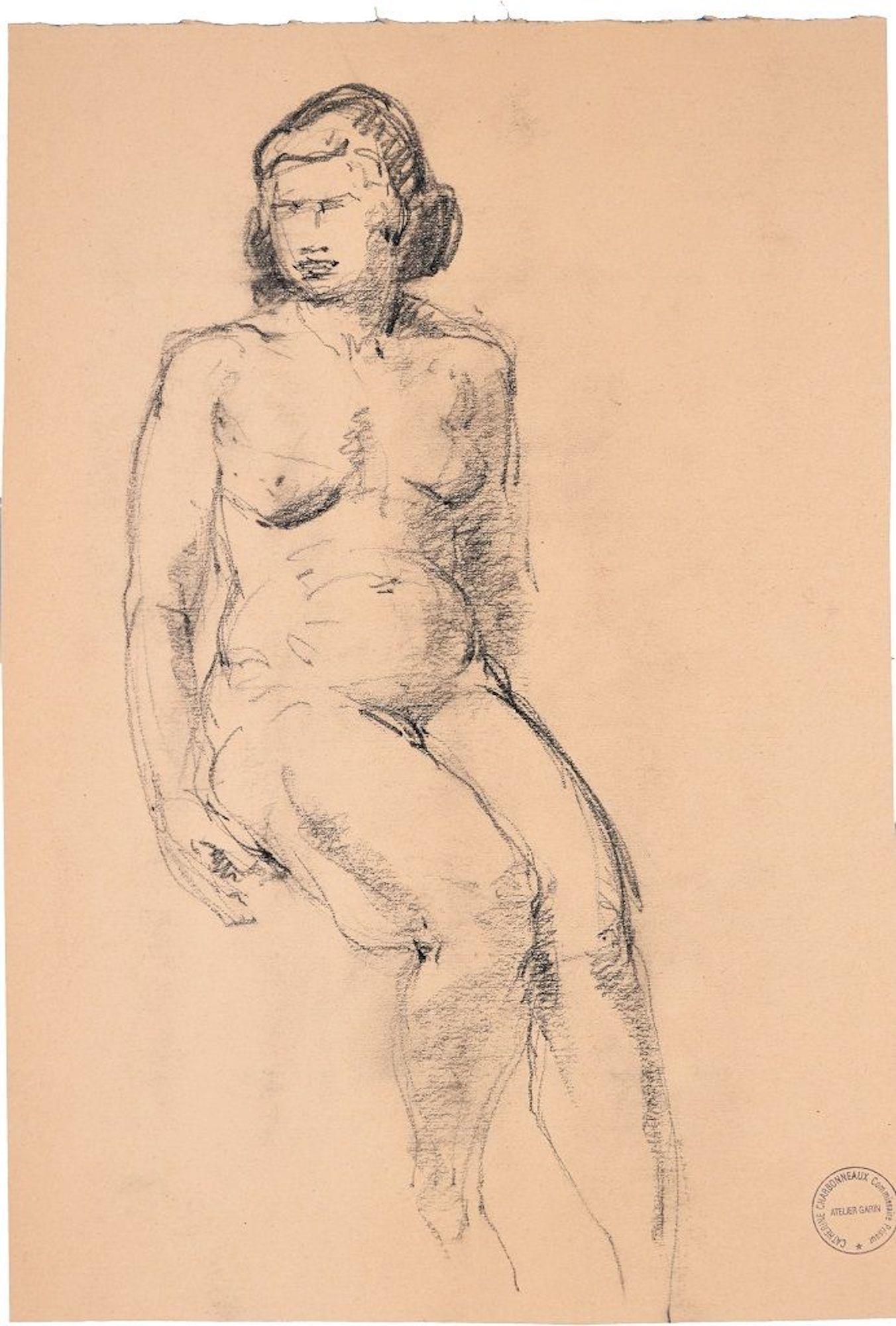 Sitting Woman - Original Charcoal Drawing by Paul Garin - 1950s