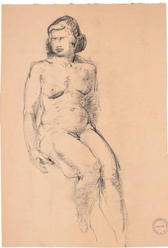 Sitting Woman - Original Charcoal Drawing by Paul Garin - 1950s