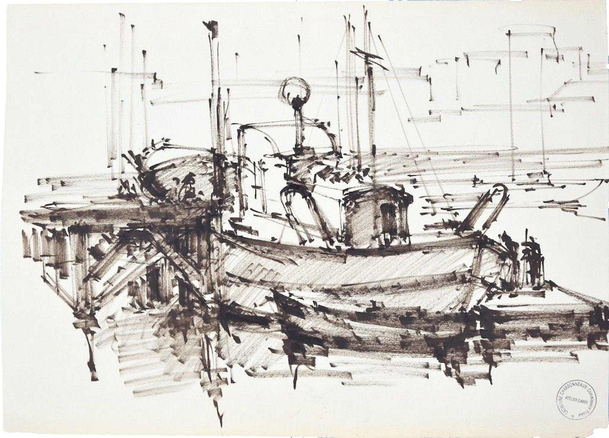 The Ship - Original Tempera on Paper by Paul Garin - 1950s
