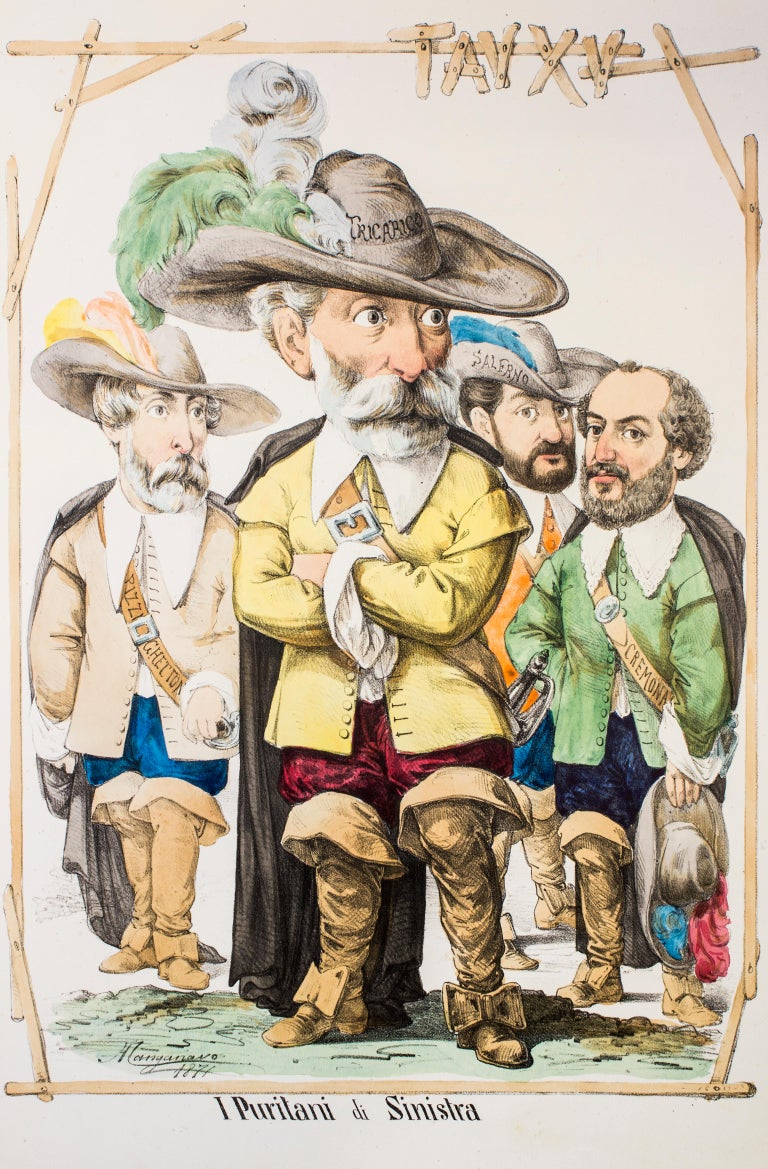 I Puritani Di Sinistra is an original artwork realized in 1871 by Antonio Manganaro.  Original colored lithograph.  Good conditions except for yellowing of paper due to the time and some light foxings.   This satirical print is the plate N. XV (as
