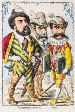 Gli Economisti Cavalieri di Destra - Original Lithograph by A. Maganaro - 1870s
