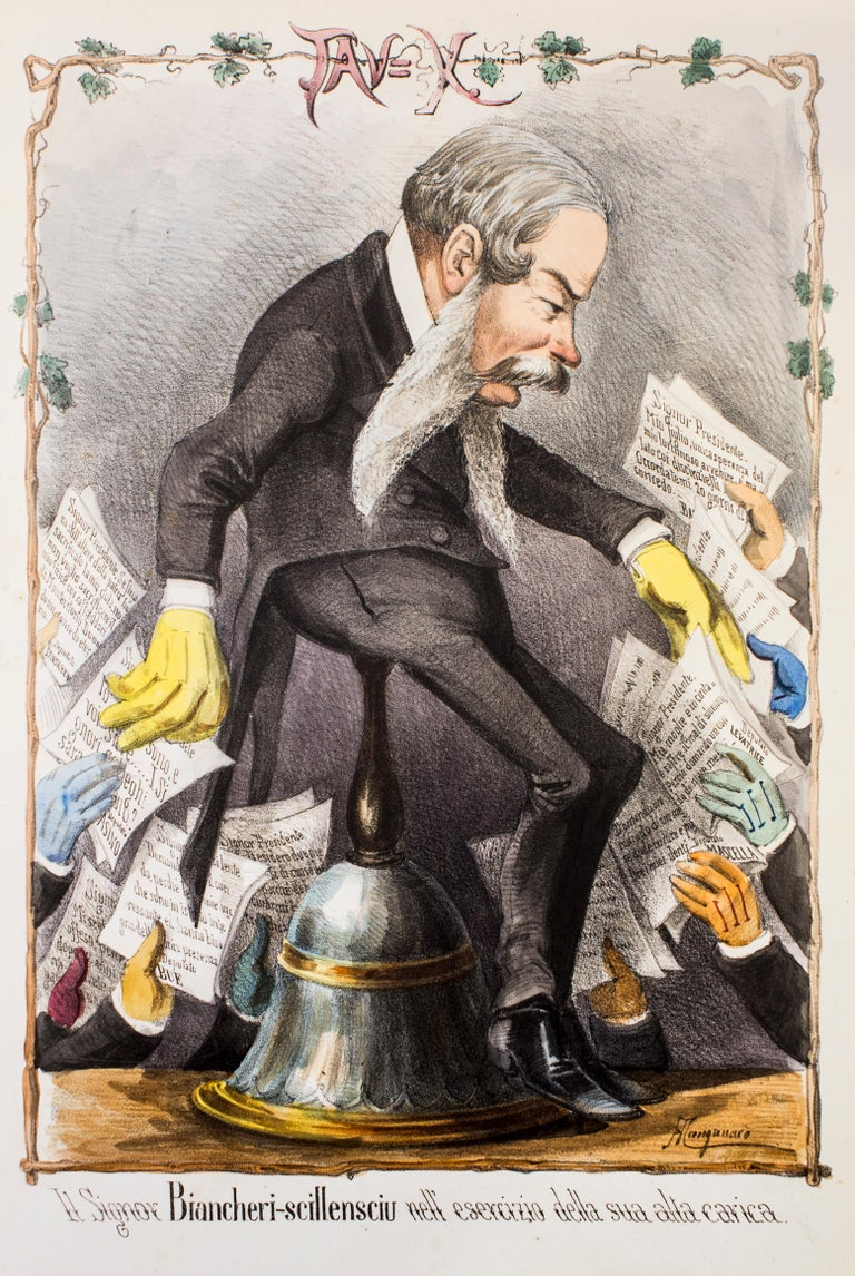 Il Signor Biancheri-scillensciu is an original artwork realized in the 1870s by Antonio Manganaro.  Original colored lithograph.  Good conditions except for the yellowing of paper due to the time.  This satirical print is plate n. X (as printed on