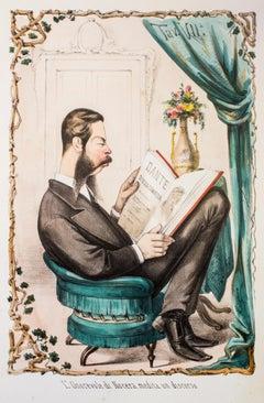 L'Onorevole Di Nocera Medita Un Discorso - Lithograph by A. Maganaro - 1870s