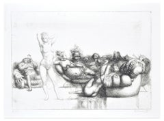 Satyrical Scene - Original Etching by R. Tommasi Ferroni - 1970s