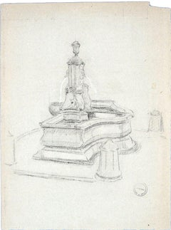The Fountain - Original Charcoal Drawing on Paper by Paul Garin - 1950s