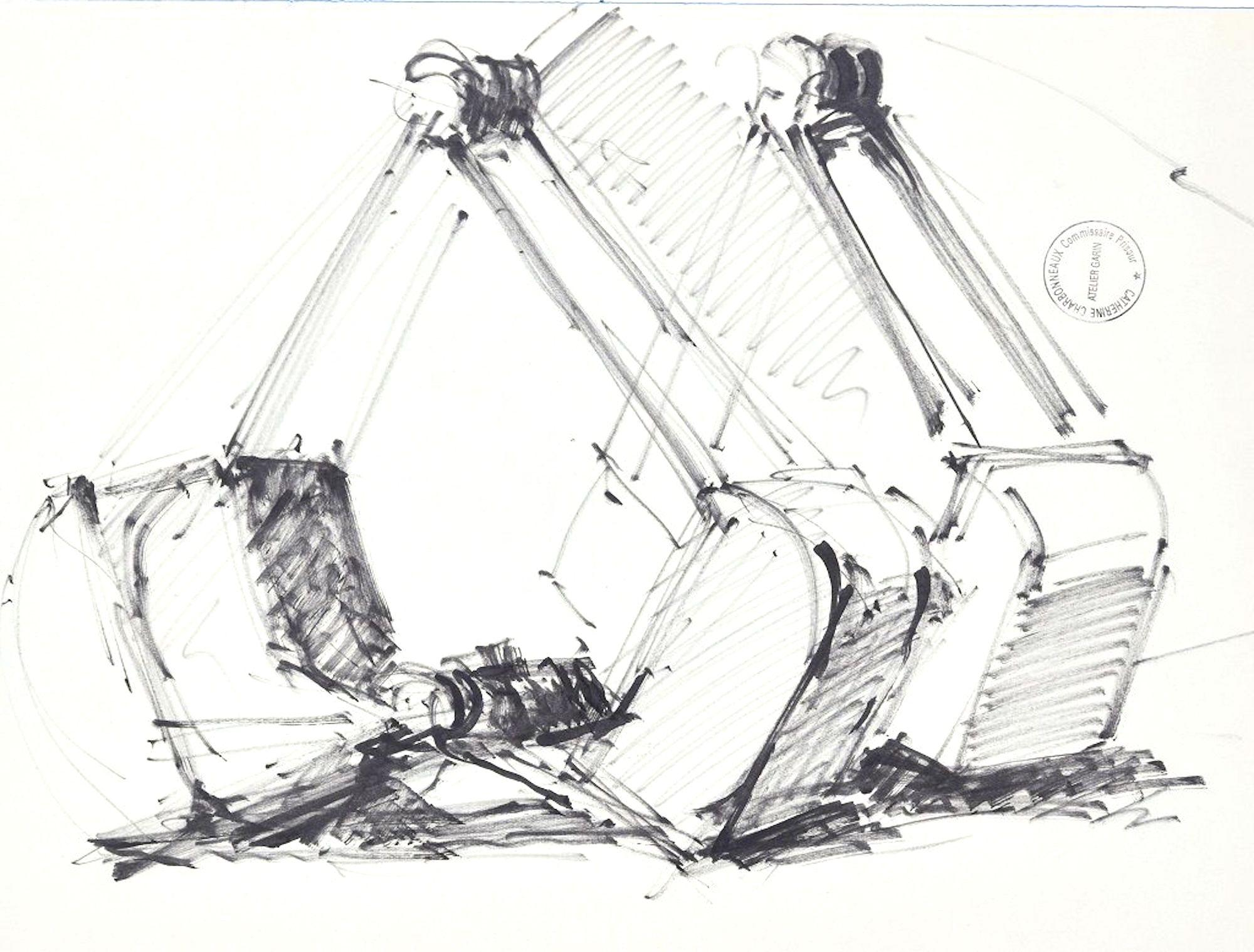 Machineries - Original Pen Drawing on Paper by Paul Garin - 1950s