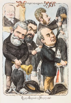 Quattro Onorevoli Ex Ministri - Lithograph by A. Maganaro - 1870s