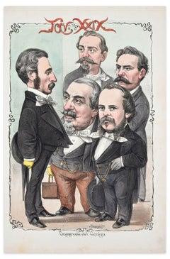 Onorevoli Del Centro - Lithograph by A. Maganaro - 1872