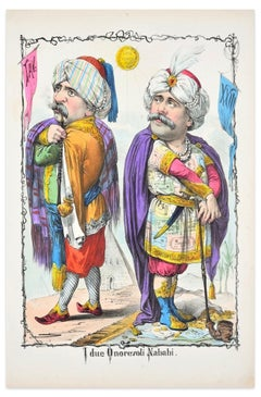 I Due Onorevoli Nababi - Lithograph by A. Maganaro - 1872