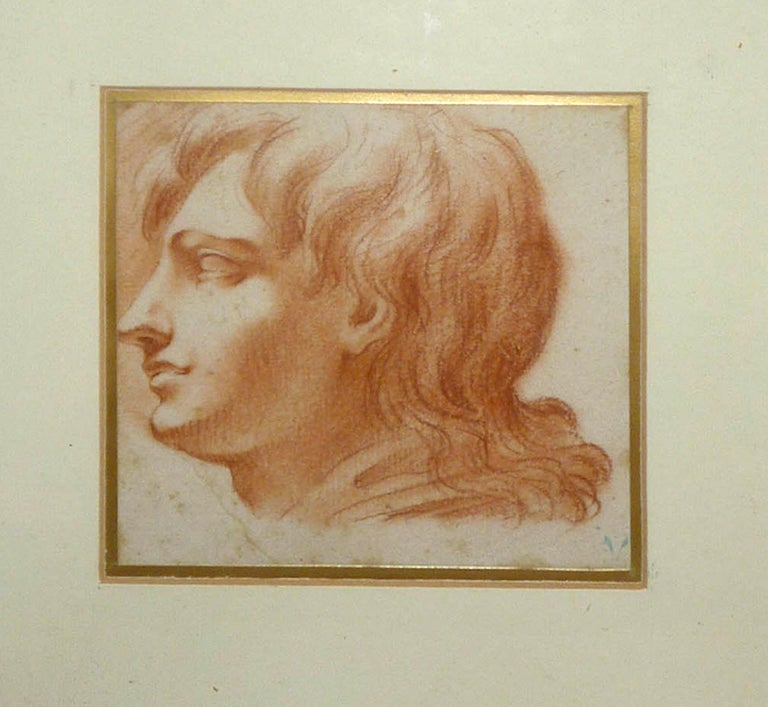Study for a Portrait - Original Sanguine Drawing End of 18th Century For Sale 2
