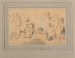 Cherubs Around the Altar - Ink and Watercolor on Paper Early 18th Century