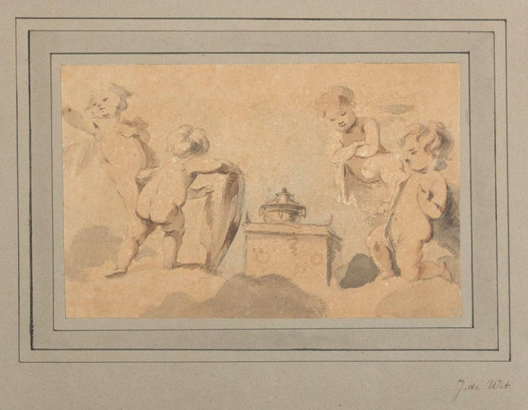 Cherubs around the Altar is an original artwork attributed to Jacob De Witt in the first half of the XVIII Century.   Ink and Watercolor on paper.   Passepartout included.   Good conditions.   Very elegant and fine watercolor work representing