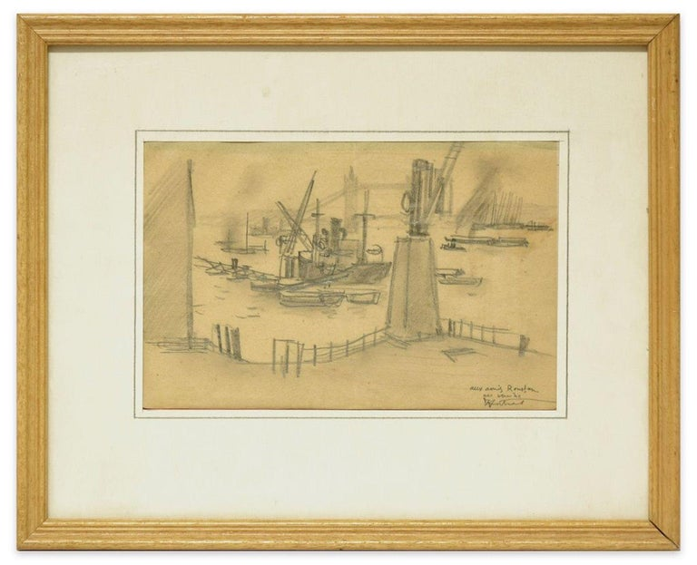 London Harbor - Original Charcoal Drawing by R.L. Antral - 1930s For Sale 2