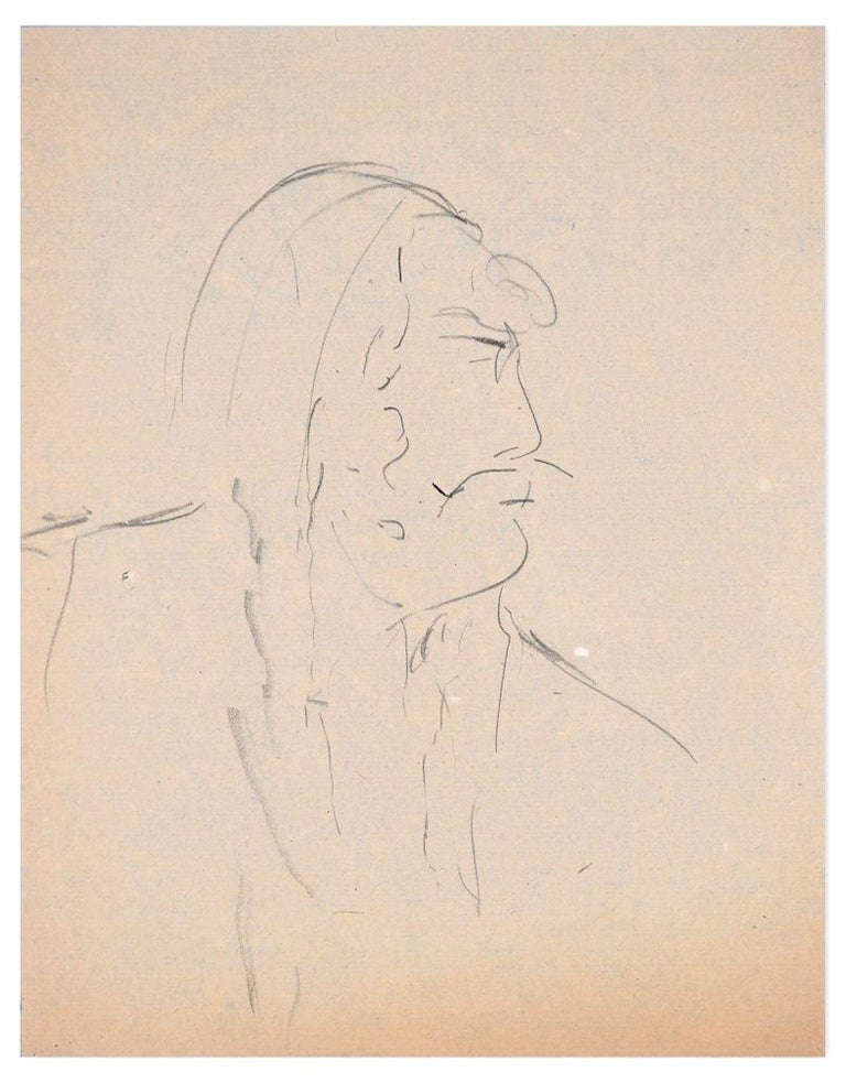 Man In Profile is an original pencil drawing on ivory paper realized by Flor David in the 1950s.  This is an original drawing representing an interesting male portrait.  Good conditions except for some light stains on paper visible in backlight.