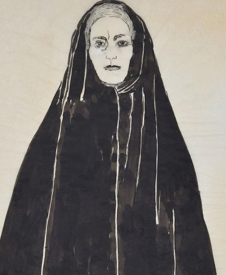 Woman with Black Mantel - Ink and Watercolor Drawing by F. David - 1949 For Sale 2