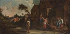 Bowlers - Original Oil on Canvas by the School of D. Teniers Le Jeune - 1659