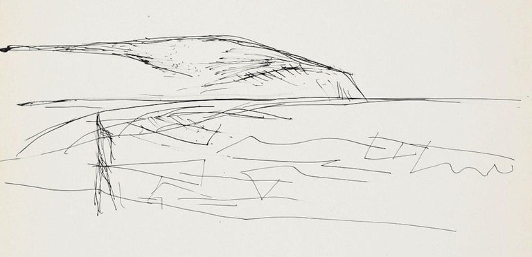 Sketch For a Landscape Painting is an original drawing on ivory paper realized by Flor David in the 1950s  This is an original pen drawing representing a sketch of a landscape.  Good conditions except for a light yellowing of paper.   Flor David