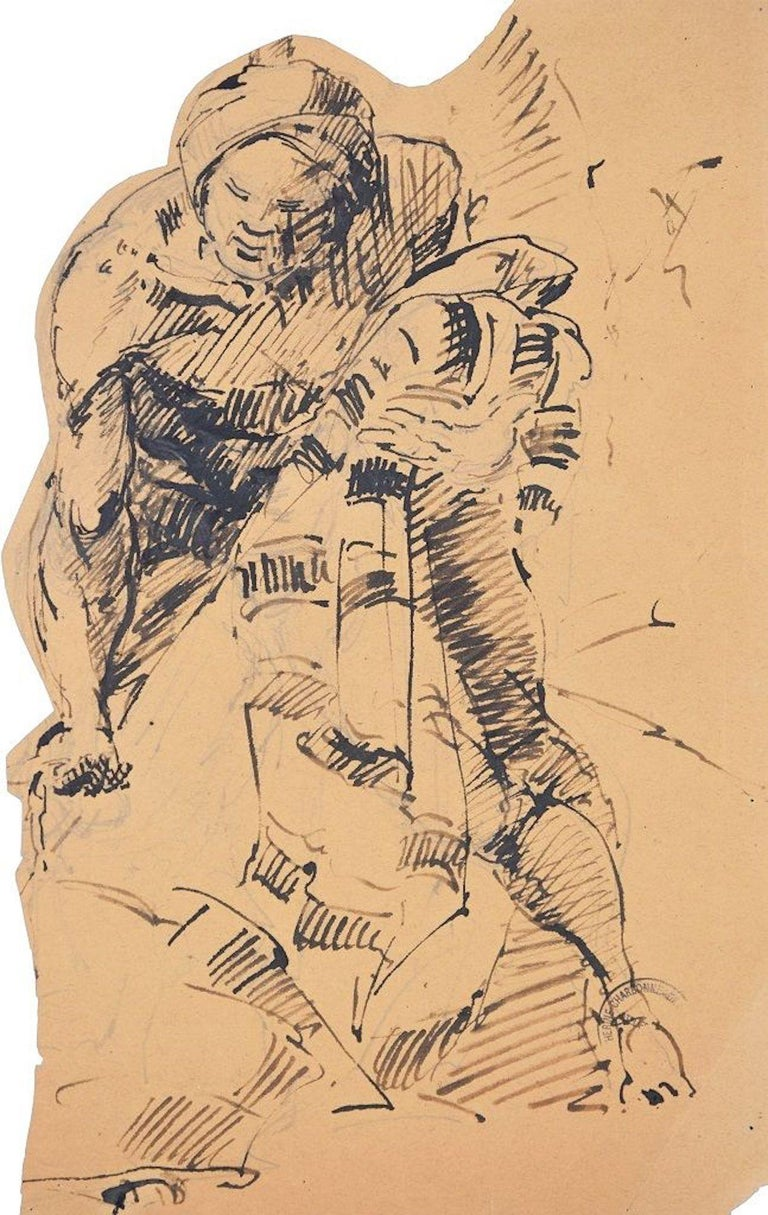 """Embracing is an original pen drawing on ivory paper, realized by the French artist Paul Garin (Nice, 1898-1963) in the 1950s.   Black ink stamp on the higher-right corner: """"Catherine Charbonneux Commissaire Priseur - Atelier Garin"""".  The artwork"""