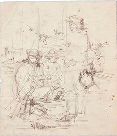 The Conversation - Original Charcoal Drawing on Paper by Paul Garin - 1950s