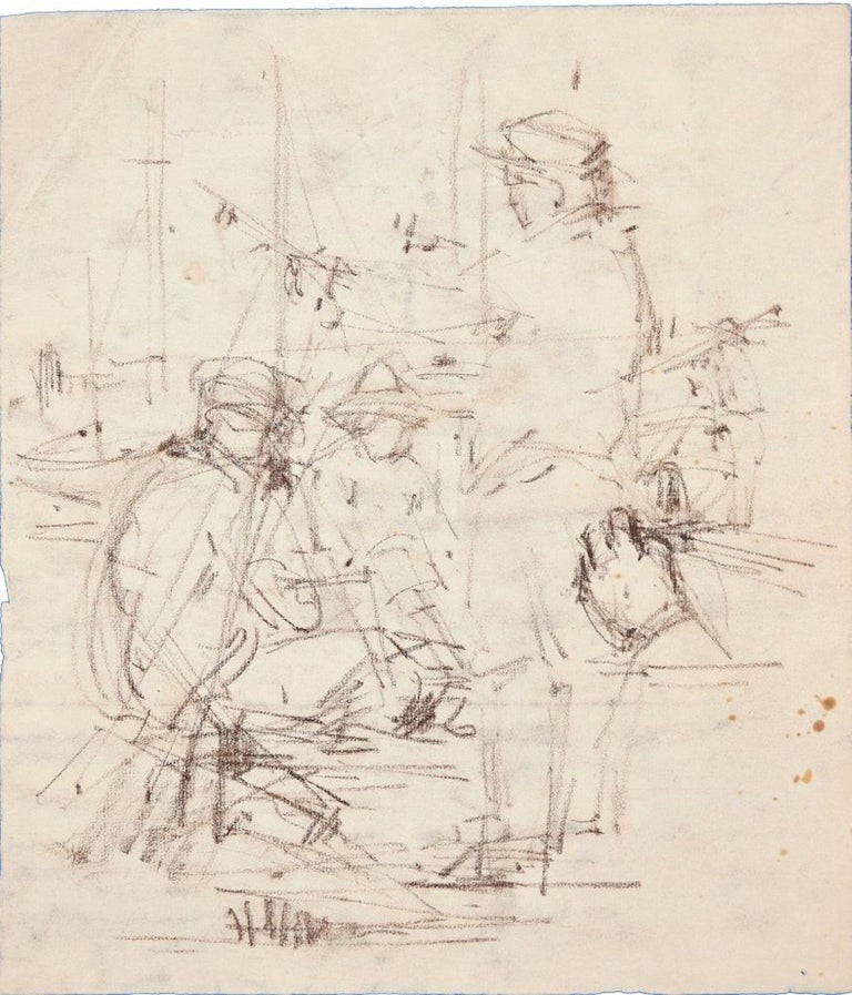 "Conversation is an original charcoal drawing on ivory paper, realized by the French artist Paul Garin (Nice, 1898-1963) in the 1950s.   Black ink stamp on the higher-right corner: ""Catherine Charbonneux Commissaire Priseur - Atelier Garin"".  The"