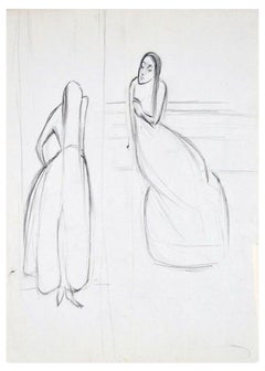Two Women - Original Charcoal Drawing by Flor David - 1950s