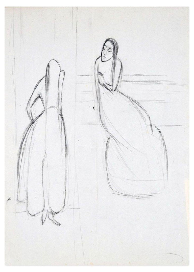 Two Women is an original drawing on ivory paper realized by Flor David in the 1950s  This is an original Charcoal drawing on block notes and it represents two long hair women talking to each other. On the back, a little sketch takes up the face of