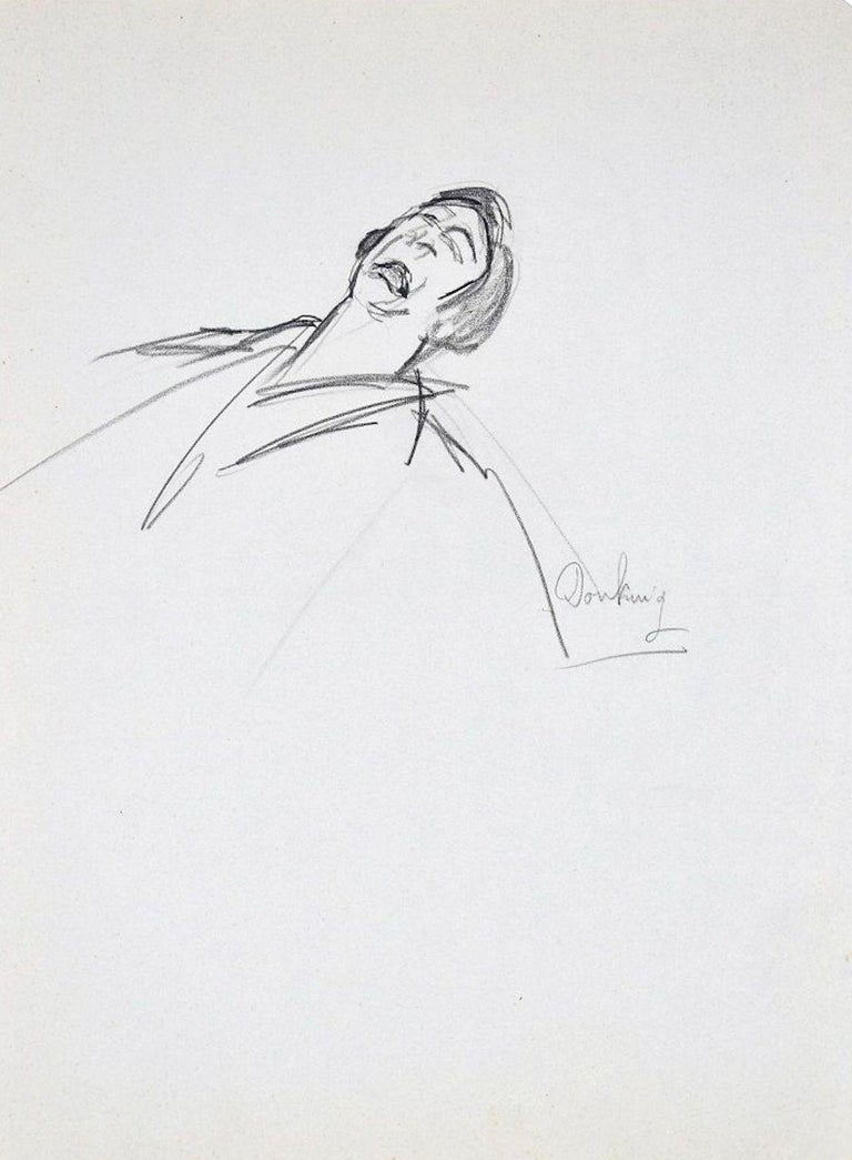 Pathos is an original drawing on ivory paper realized by Flor David in the 1950s  This is an original pencil drawing on block notes and it represents a man with his head towards the back with an expression of desperation on his face.    On the lower