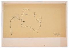Profile of Man - Original China Ink Drawing by Flor David - 1949