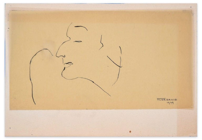 Profile of Man is an original drawing on ivory glossy paper realized by Flor David in 1949.  This is an original china ink drawing representing a man in profile with narrowed eyes.    Hand-signed and dated on the lower right margin.  The artwork is