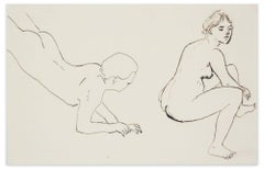 Erotic Look - Original China Ink Drawing by M. Vertès - 1930s