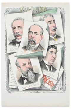 Onorevoli di Sinistra - Lithograph by A. Maganaro - 1870s