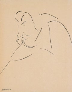Tartuffe - Original China Ink Drawing by Flor David - 1949