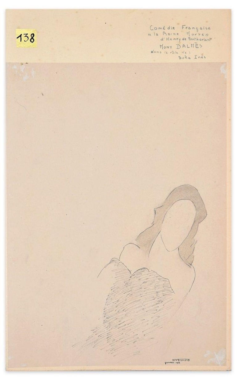 La Reine Morte - Original China Ink Drawing by Flor David - 1953 For Sale 1
